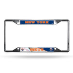 New York Mets License Plate Frame Chrome EZ View