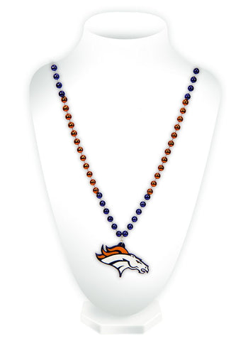 Denver Broncos Beads with Medallion Mardi Gras Style