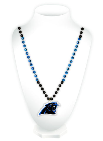 Carolina Panthers Beads with Medallion Mardi Gras Style