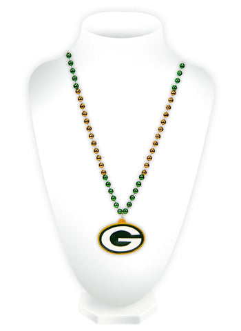 Green Bay Packers Beads with Medallion Mardi Gras Style