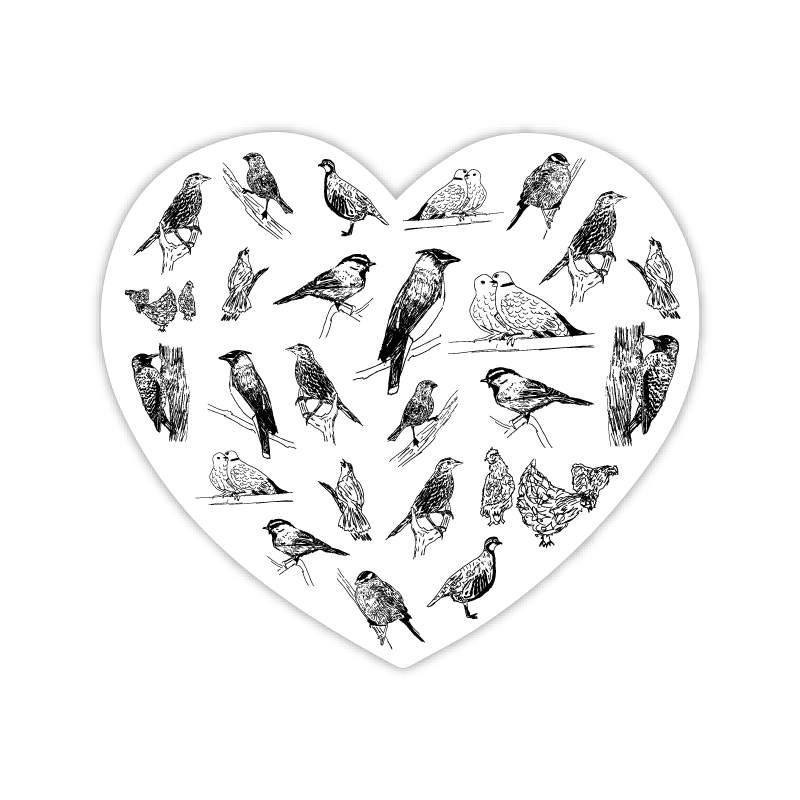 Heart of Birds Sticker