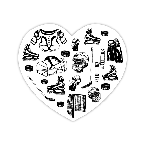 Heart of Hockey Sticker