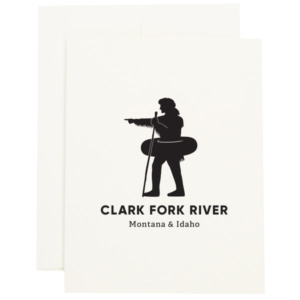 Silhouette of explorer William Clark pointing with an inner tube around his waist to signify the Clark Fork River in Missoula, MT on a greeting card.