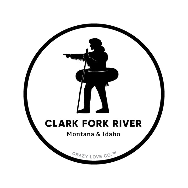 Silhouette of explorer William Clark pointing with an inner tube around his waist to signify the Clark Fork River in Missoula, MT on a sticker.