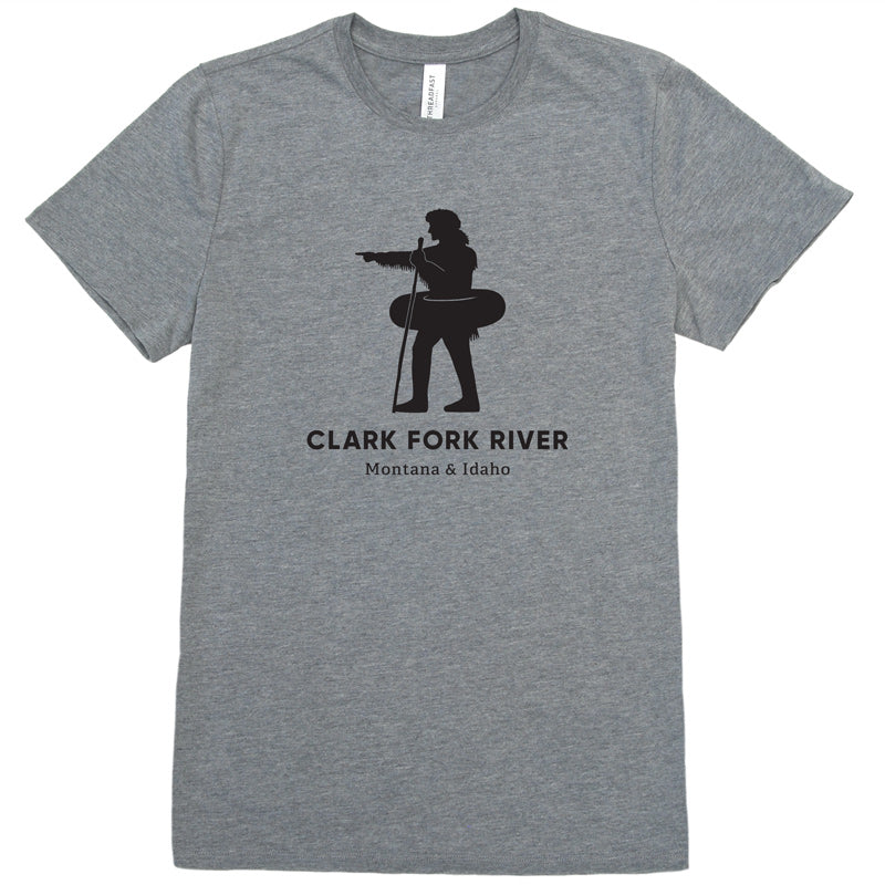 Silhouette of explorer William Clark pointing with an inner tube around his waist to signify the Clark Fork River in Missoula, MT on a gray t-shirt.