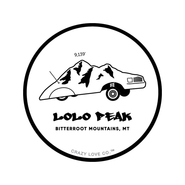 An illustration of Lolo Peak, in the Bitterroot Mountains, near Missoula, MT as a low-rider car on a sticker.