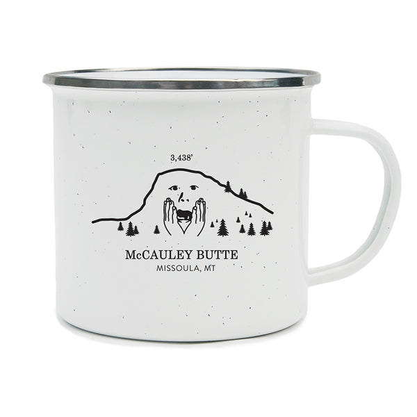 An image of a worried McCauley Butte in Missoula, Montana on a camping mug.