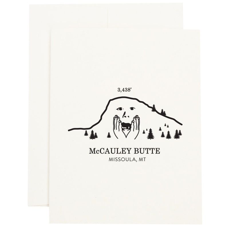 An image of a worried McCauley Butte in Missoula, Montana on a greeting card.