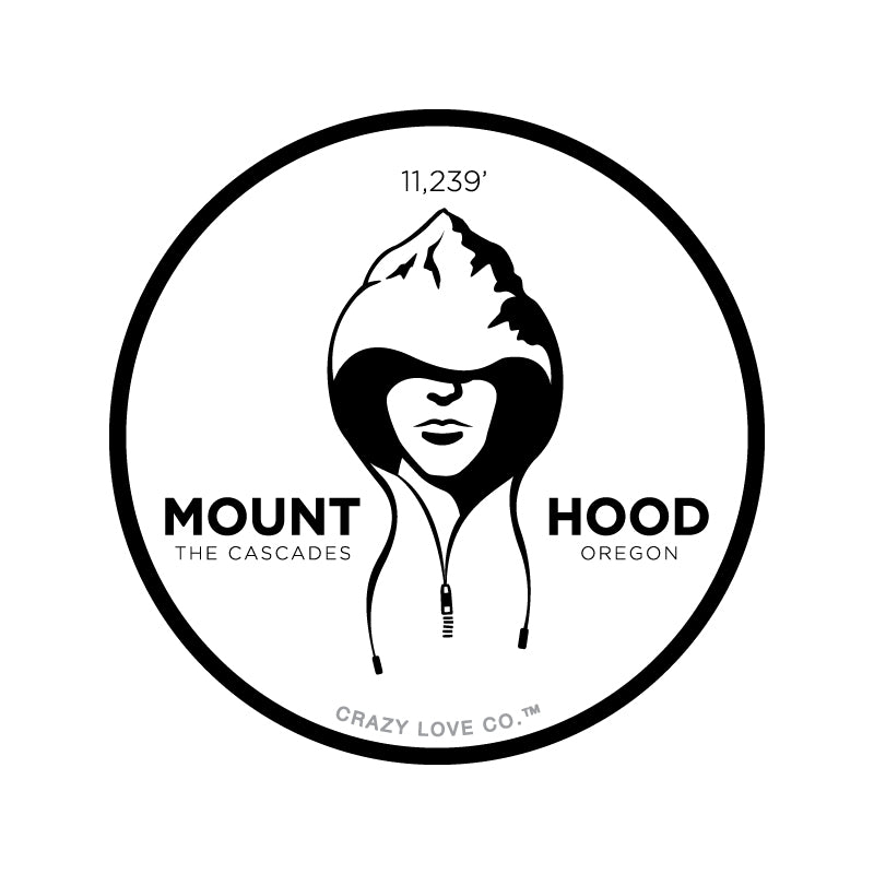 Image of a person in a hooded sweatshirt where the top of the hood is a mountain to represent Mount Hood in the Cascade Range of Oregon on a sticker.