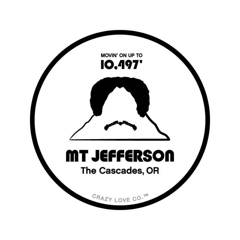 Mountain with a wig and a mustache to represent Mount Jefferson in the Cascade Range of Oregon on a sticker.