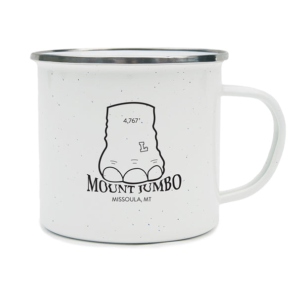 Elephant foot stomping on the words Mount Jumbo in Missoula, MT on a camping mug.