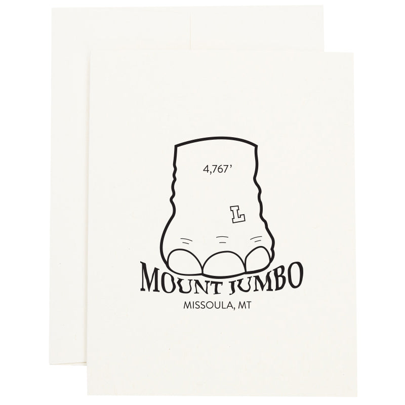 Elephant foot stomping on the words Mount Jumbo in Missoula, MT on a greeting card.