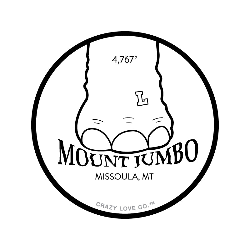 Elephant foot stomping on the words Mount Jumbo in Missoula, MT on a sticker.