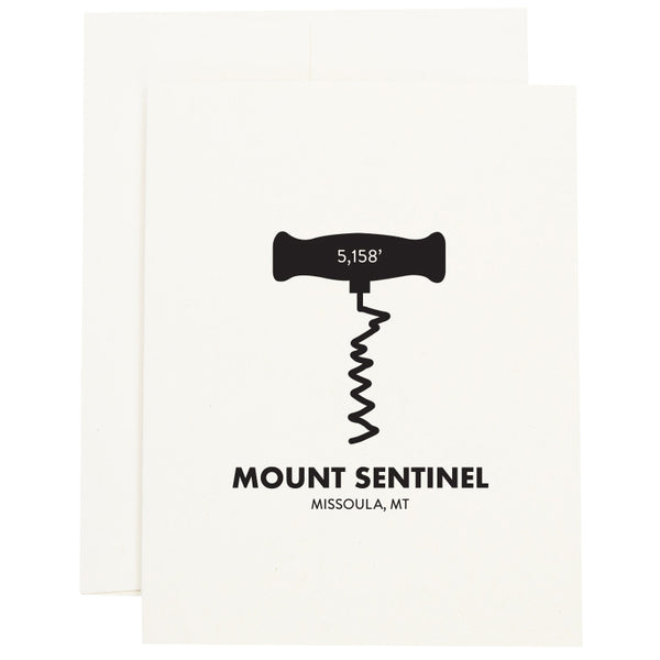 The M trail on Mount Sentinel in Missoula, MT as a corkscrew on a greeting card.