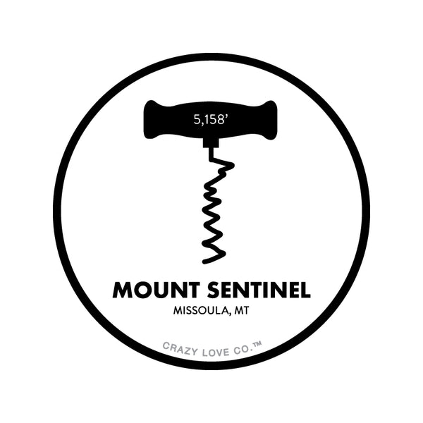 The M trail on Mount Sentinel in Missoula, MT as a corkscrew on a sticker.