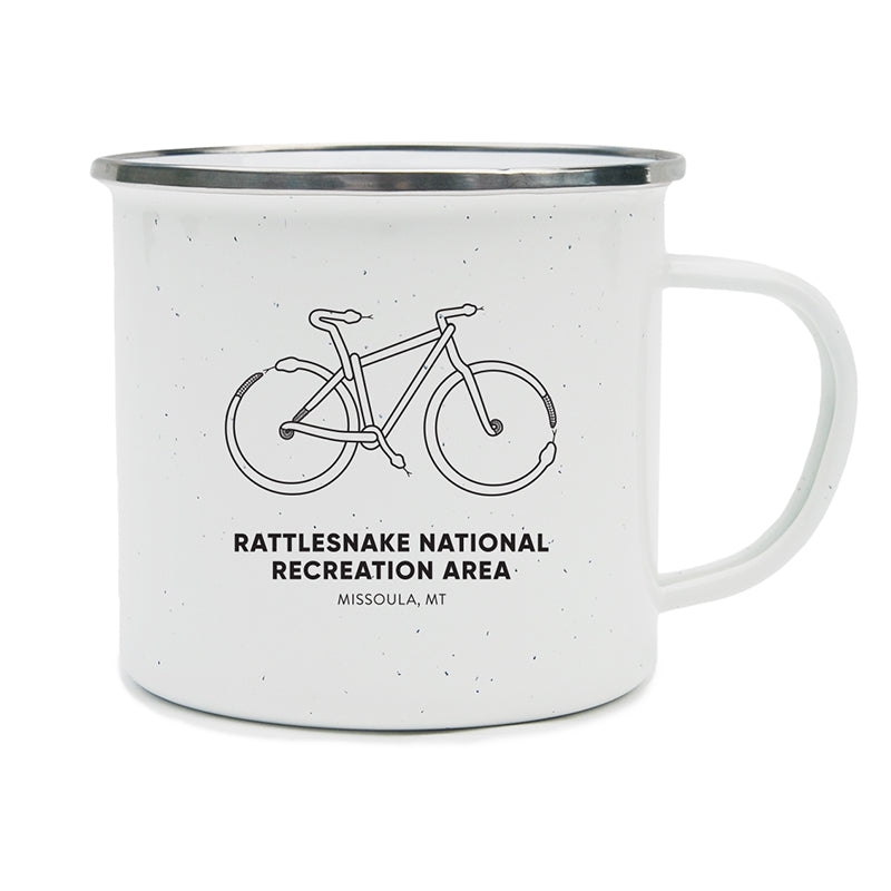 Mountain Bike made out of snakes to represent the Rattlesnake National Recreation Area near Missoula, MT on a camping mug.