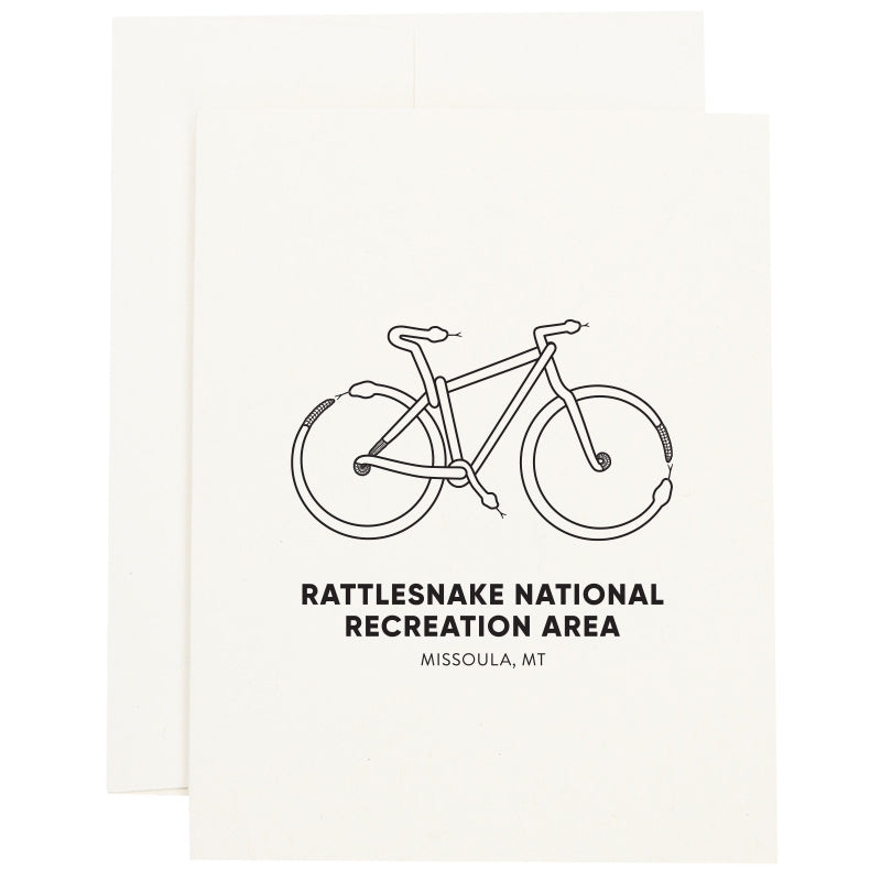 Mountain Bike made out of snakes to represent the Rattlesnake National Recreation Area near Missoula, MT on a greeting card.