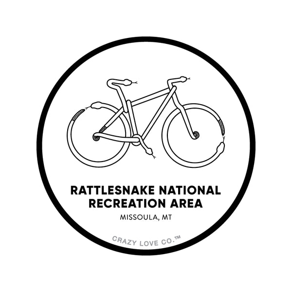 Mountain Bike made out of snakes to represent the Rattlesnake National Recreation Area near Missoula, MT on a sticker.
