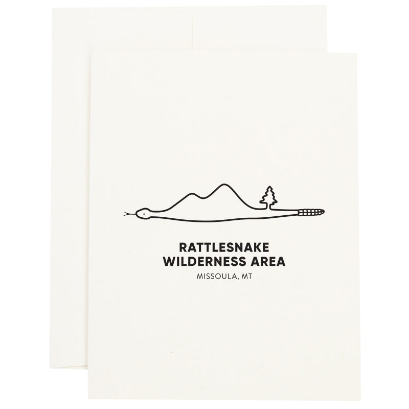 Image of Rattlesnake Wilderness Area in Missoula, Montana inside of a snake on a greeting card.