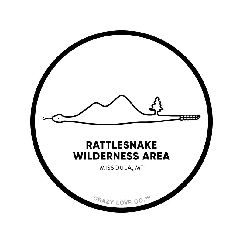 Image of Rattlesnake Wilderness Area in Missoula, Montana inside of a snake on a sticker.