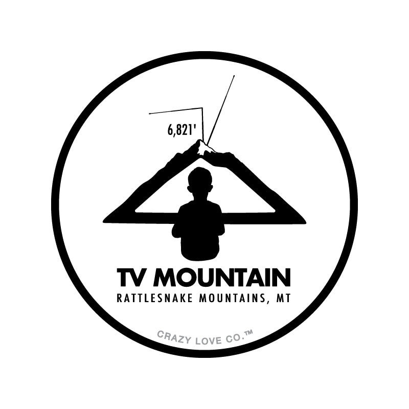 Image of a boy looking at a mountain as if it is a television to represent TV Mountain in Missoula, MT on a sticker.