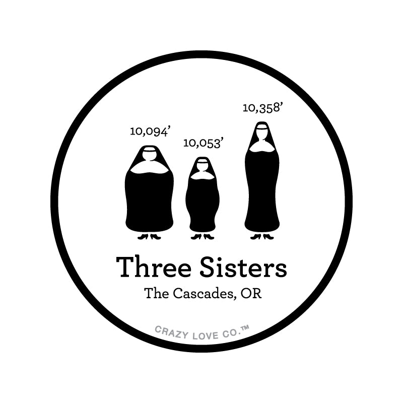 Image of three nuns representing the Three Sisters in the Cascade Range of Oregon on a sticker.
