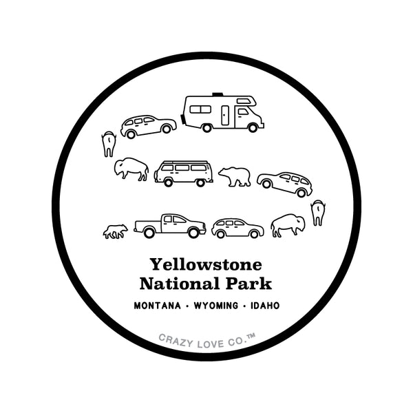 Image of a traffic jam at Yellowstone National Park in Montana, Wyoming, and Idaho with cars, campers, bears, and bison on a sticker.