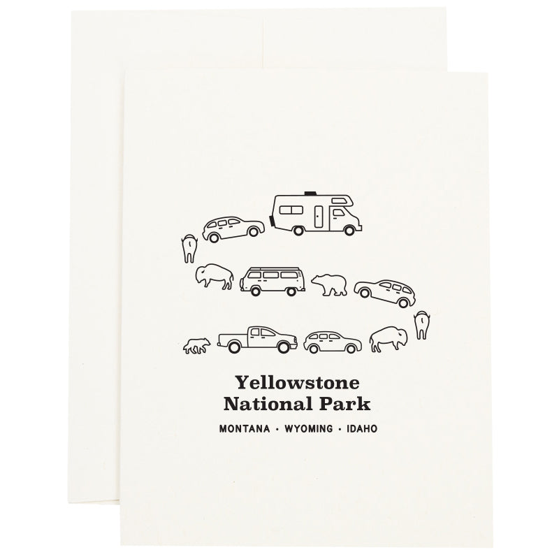 Image of a traffic jam at Yellowstone National Park in Montana, Wyoming, and Idaho with cars, campers, bears, and bison on a greeting card.