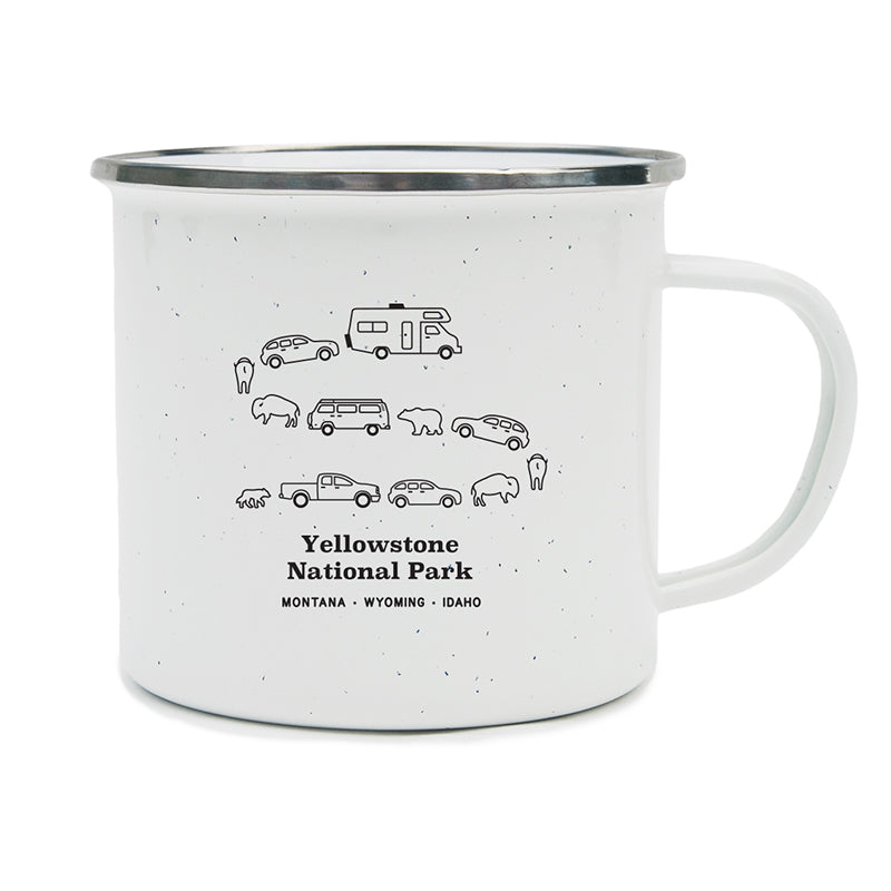 Image of a traffic jam at Yellowstone National Park in Montana, Wyoming, and Idaho with cars, campers, bears, and bison on a camping mug.