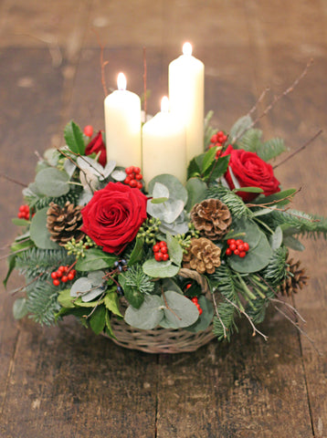 Candle & Flower arrangement ~ Rich Reds