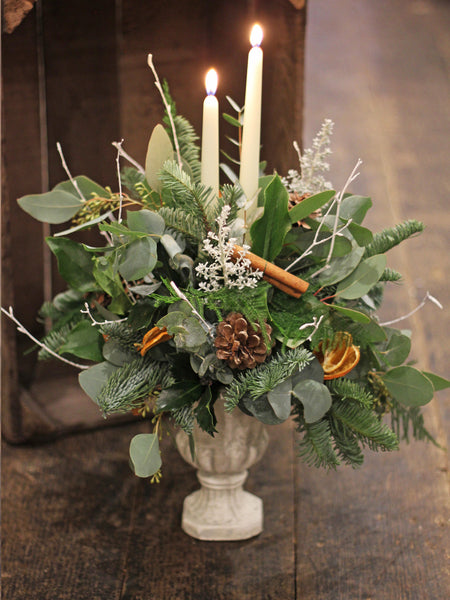 Festive Candle Table Decoration ~ in a stone urn