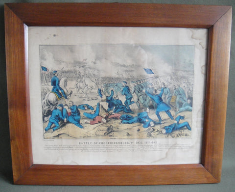 """Battle of Fredericksburg, VA. Dec. 13th, 1862"" - hand-colored lithograph"