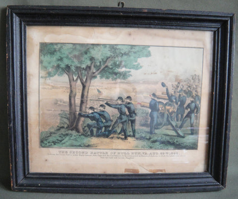 """Second Battle of Bull Run"" framed hand-colored lithograph 1862"