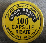 Leon Beaux Pistol percussion caps tin