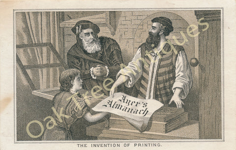 Victorian Trade Card - Invention of Printing - Ayer's Almanach