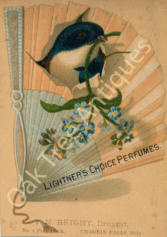 Victorian Trade Card - Lightner's Choice Perfumes - T. N. Bright druggist, Chagrin Falls, Ohio