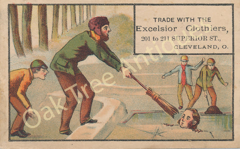Victorian Trade Card - Excelsior Clothiers Cleveland, Ohio - Ice Rescue scene