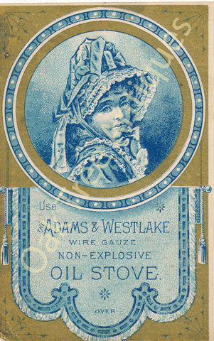 Victorian Trade Card - Adams & Westlake Oil Stove - R.S. Johnston, Greenville, Pennsylvania