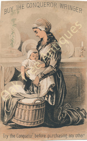 Victorian Trade Card - Conqueror Wringer - Mother and baby - Thomas Hutson, Mayville, New York