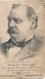 Victorian Trade Card - Grover Cleveland from Wait Bros. Watches and Silver Ware, Ravenna, Ohio