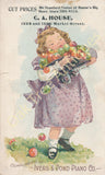 Victorian Trade Card - Ivers & Pond Pianos - C. A. House, Wheeling, WV - Girl with Apples