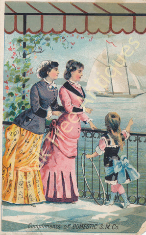 Victorian Trade Card - Domestic Sewing Machines - Seaside view with women and girl