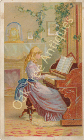 Victorian Trade Card - Arbuckle's Ariosa Coffee - Girl at Organ or Piano