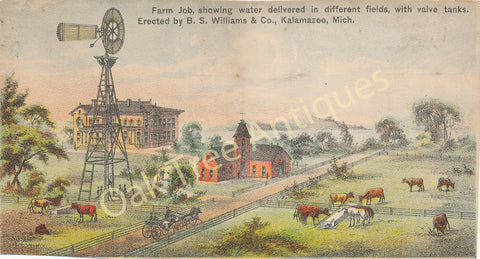 Victorian Trade Card - B.S. Williams & Co., Kalamazoo, Mich. - Farm Job - water windmill and cattle