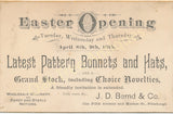 Victorian Trade Card - J.D. Bernd & Co., Pittsburgh, PA - Millinery, Fancy goods