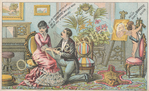 Victorian Trade Card - Domestic Sewing Machines - Cupid and Wedding Proposal - C. P. Hawley, Garrettsville, Ohio