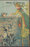 Victorian Trade Card - Swain the Jeweler - Ravenna, Ohio - Lovers over wall
