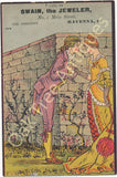 Victorian Trade Card - Swain the Jeweler - Ravenna, Ohio - Lovers in front of wall