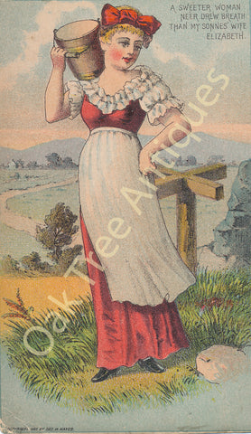 Victorian Trade Card - Milkmaid with a bucket - Mack Bros. Cleveland and Cincinnati