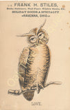 Victorian Trade Card - Owl - Love - Frank H. Stiles Books, Stationery etc. - Ravenna, Ohio